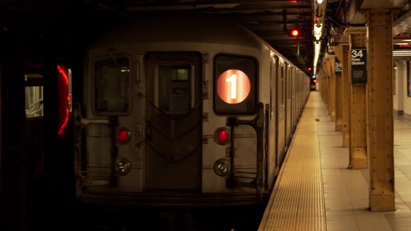 Subway train leaving the deserted platform at Penn Station in New York City, New York, USA Royalty-free stock video