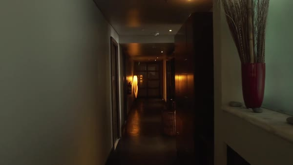 POV shot moving through corridor in hotel Royalty-free stock video