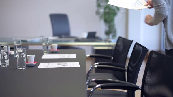 Business Woman Preparing Meeting In Executive Board Room Royalty Free Stock Video