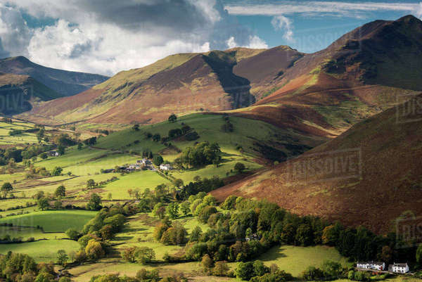 Newlands Valley and Causey Pike, Lake District National Park, Cumbria, England, UK. October 2012. Rights-managed stock photo