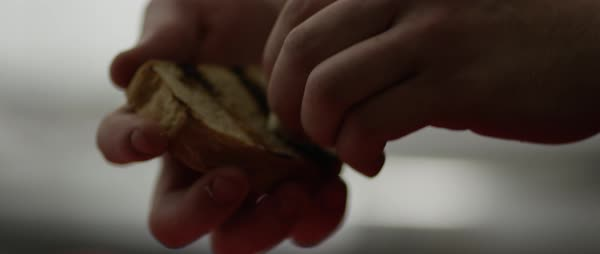 Hand-held shot of a man rubbing garlic into a grilled slice of bread Royalty-free stock video