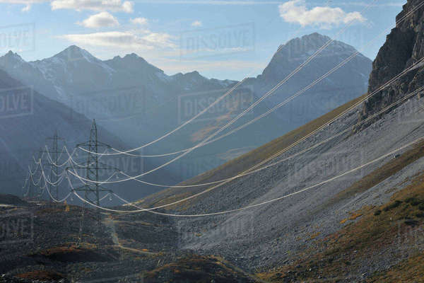 Hydro Lines and Pylons in Alps, Albula Pass, Graubunden, Switzerland Royalty-free stock photo
