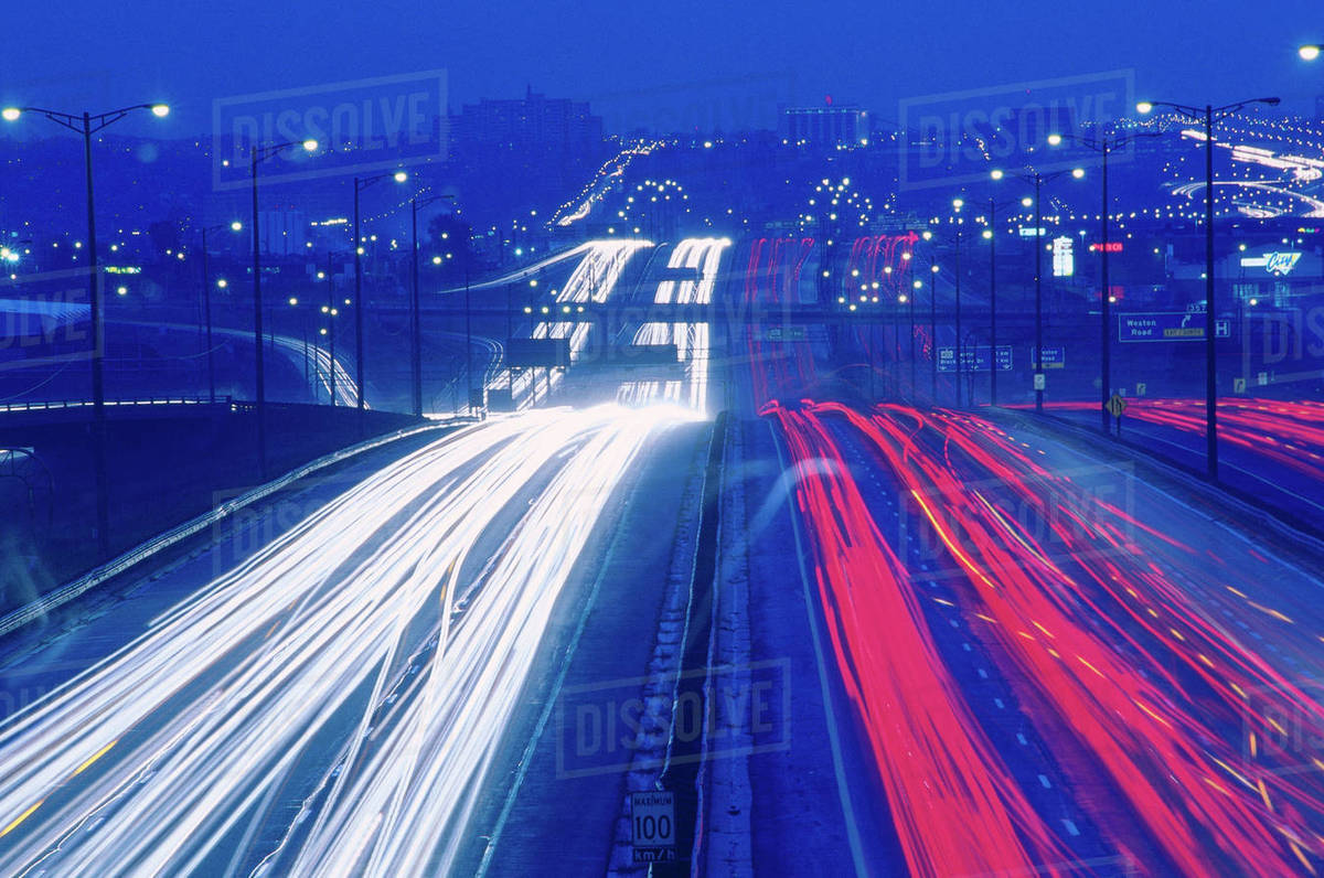 Traffic at Night on Highway 401, Toronto, Ontario, Canada stock photo