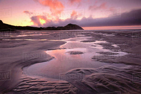 Wharariki Beach, Golden Bay, Farewell Spit, Cape Farewell, South Island, New Zealand Royalty-free stock photo