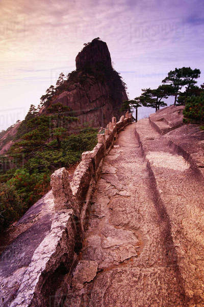 Footpath, Mount Huangshan, Anhui Province, China Royalty-free stock photo