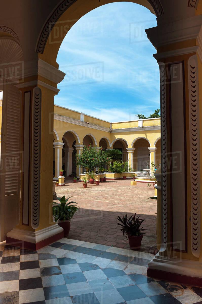 Museo Romantico.Interior Courtyard Of Museo Romantico Trinidad Cuba West Indies