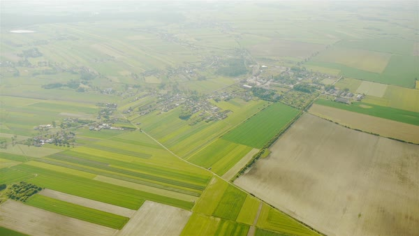 Villages and fields aerial view Royalty-free stock video