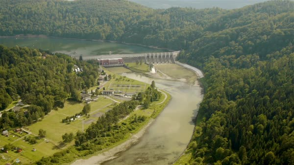 Rożnów dam aerial view  Royalty-free stock video