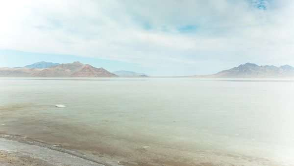 Motion timelapse panning from shore to water of the Great Salt Lake, Utah. Royalty-free stock video
