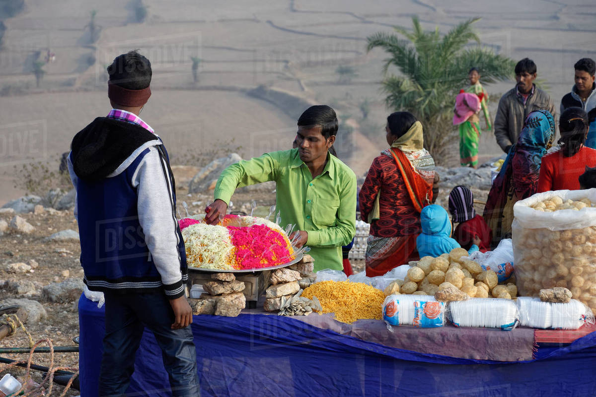 Local people selling street food in an Indian hilltop rural fair Royalty-free stock photo
