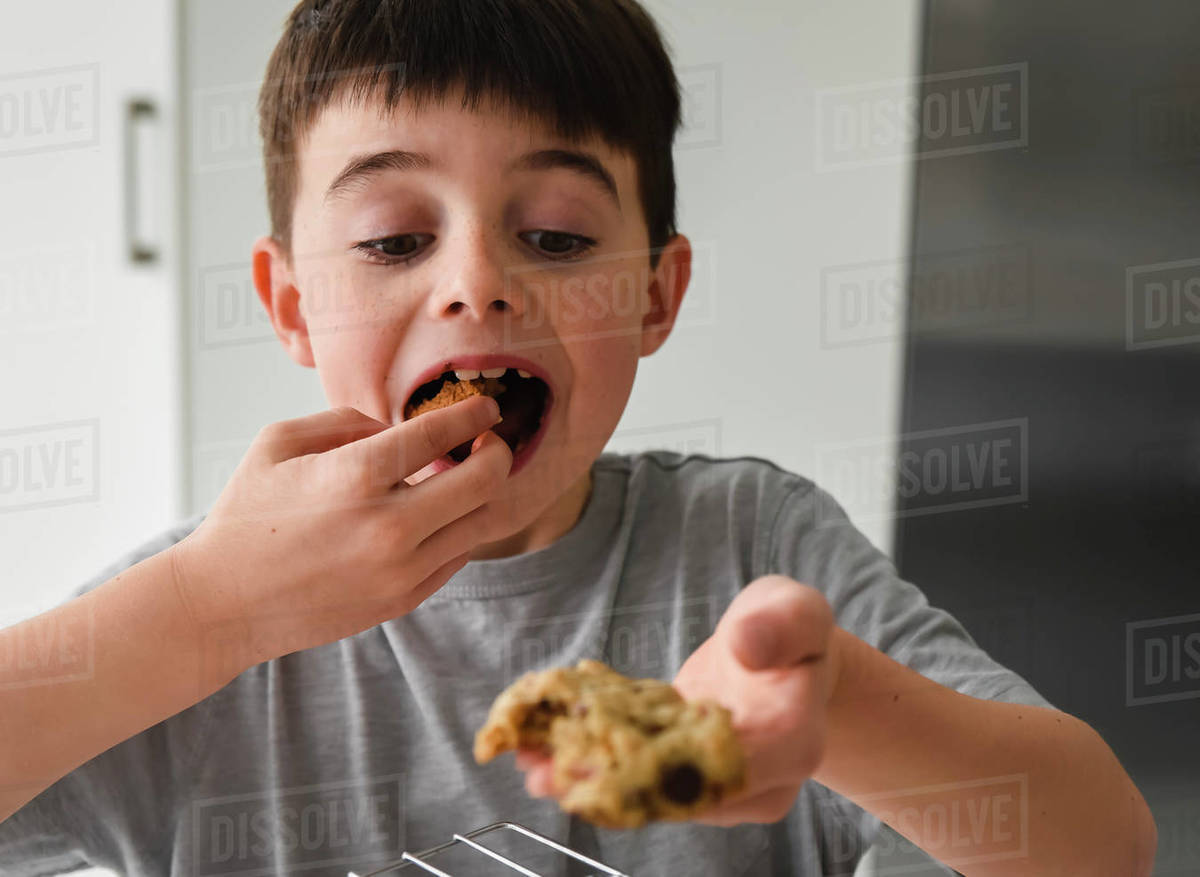 Young boy eating a freshly baked chocolate chip cookiein a kitchen Royalty-free stock photo