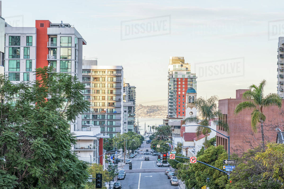 Downtown San Diego on a December morning. Royalty-free stock photo