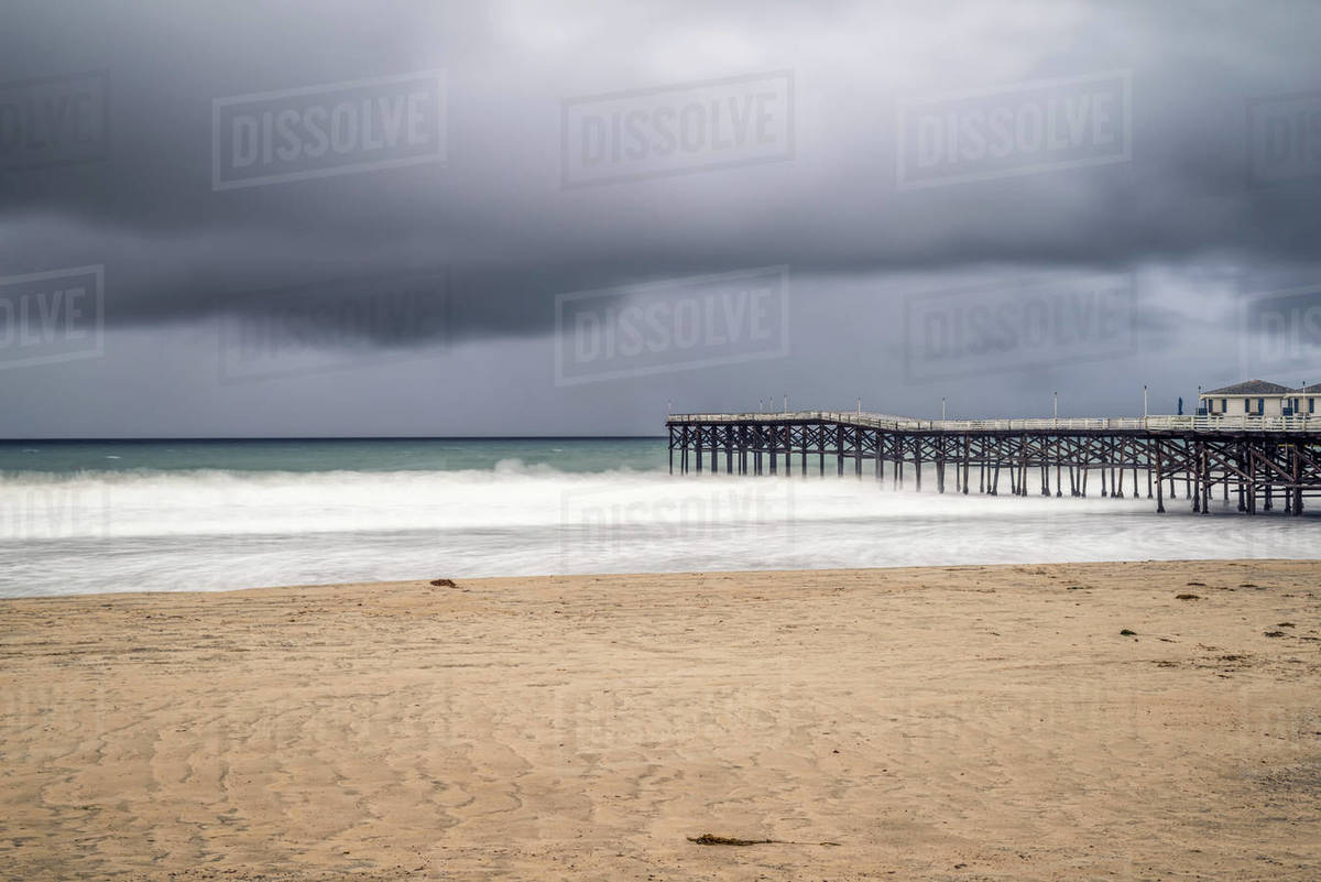 Crystal Pier and Mission Beach on a December morning. Royalty-free stock photo