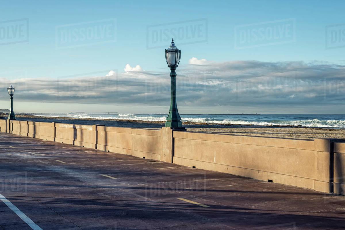 Misson Beach Boardwalk on a December morning. Royalty-free stock photo