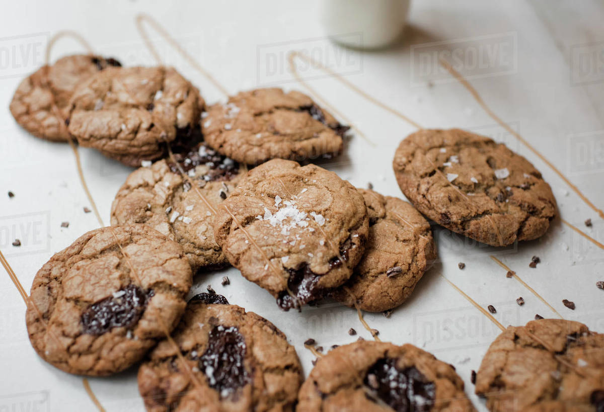Homemade chocolate cookies covered in caramel with milk Royalty-free stock photo