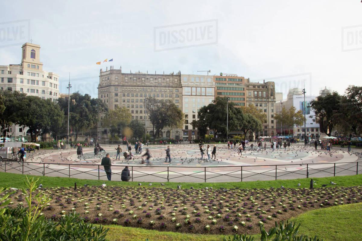 Plaza Catalunya, Barcelona City Center Royalty-free stock photo