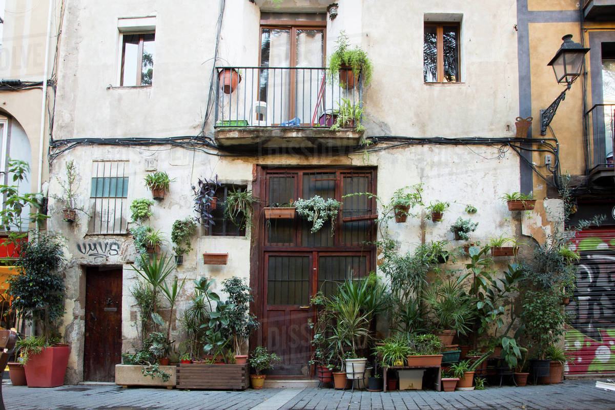 Old building with lots of plants in the facade in el Born. Royalty-free stock photo