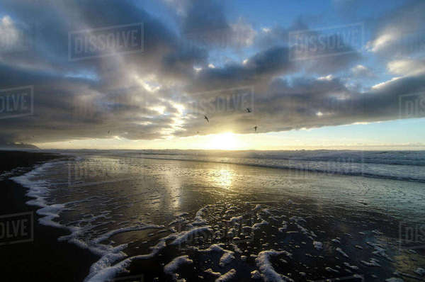 Scenic view of beach against cloudy sky during sunset Royalty-free stock photo