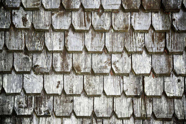 Close-up of old wooden shingles Royalty-free stock photo