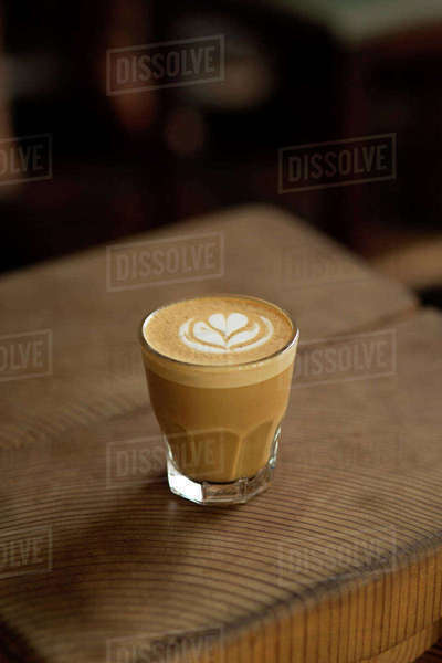 High angle view of coffee on wooden table Royalty-free stock photo