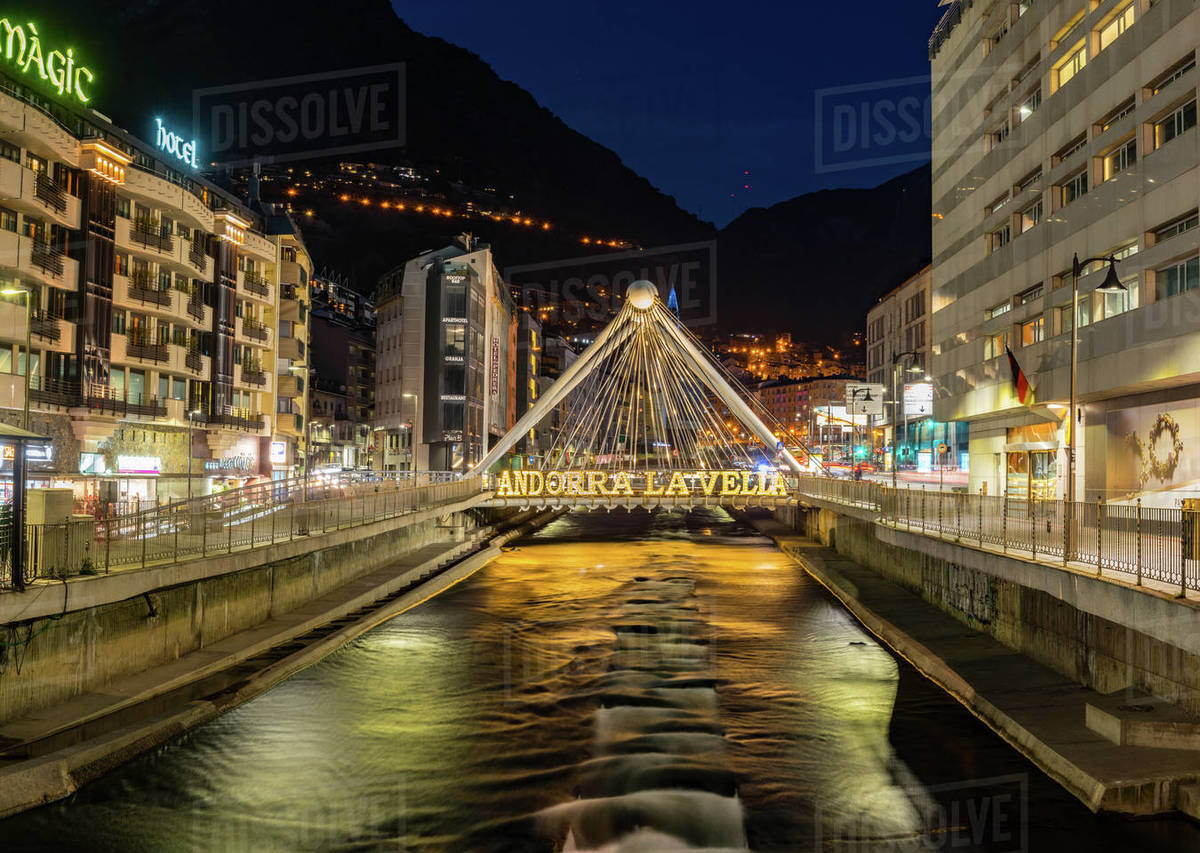 Andorra La Vella, Andorra : 2019 Febrero 26 : Paris Bridge,  Cityscape Royalty-free stock photo