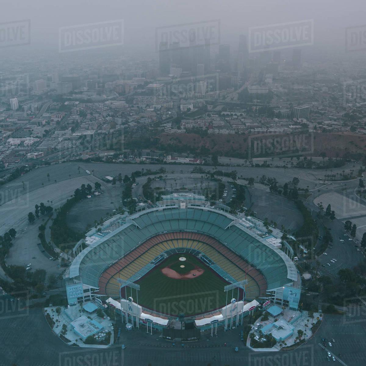 Flying over Dodger Stadium Royalty-free stock photo