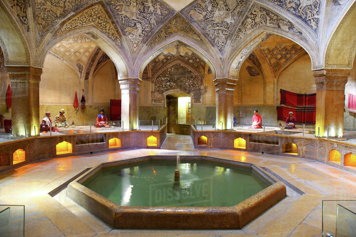 Vakil Bathhouse in Shiraz. The mannequins representing the old style people with special bathhouse clothings Royalty-free stock photo