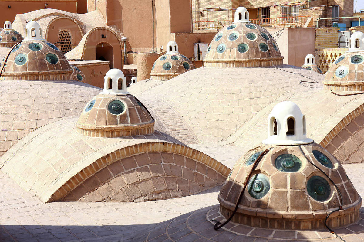 Iran Kashan, city, Hammam Sultan Mir Ahmad, (bath house), roof Royalty-free stock photo