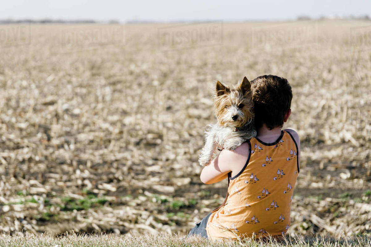 Boy sitting with his dog beside a corn field in the countryside. Royalty-free stock photo