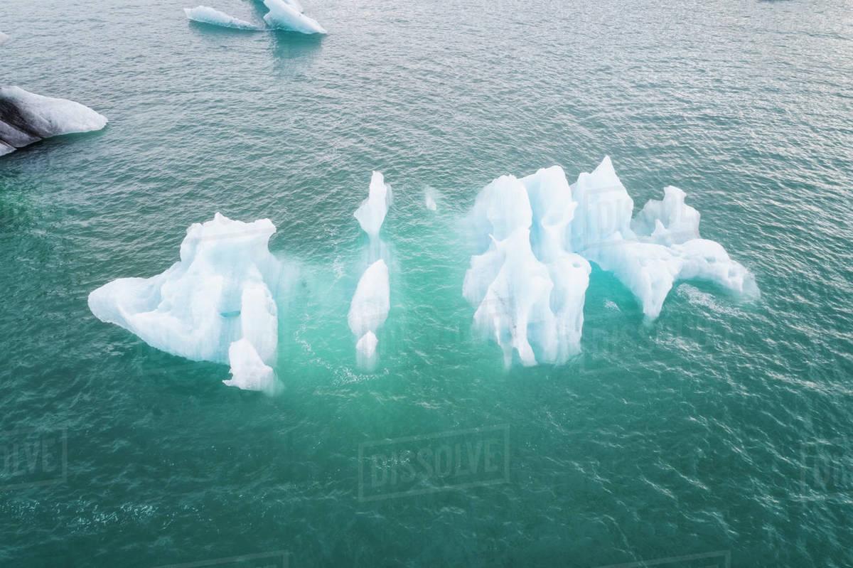 Iceberg  in Jokulsarlon from above in cenital view Royalty-free stock photo