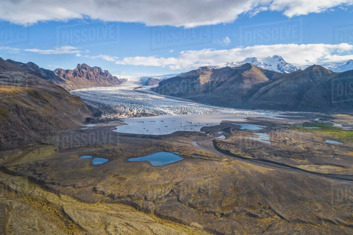 Aerial view of Vatnajokull Glacier Royalty-free stock photo