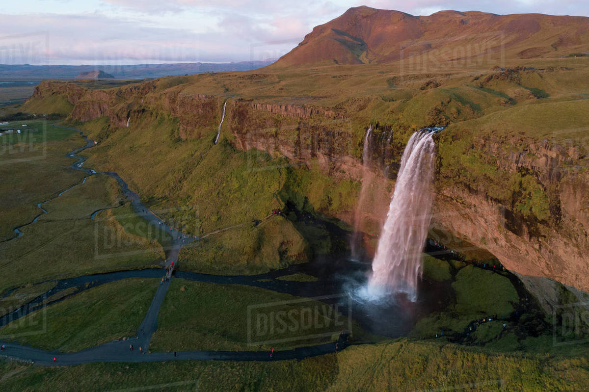 Sunset in Seljalandfoss waterfall from aerial view Royalty-free stock photo