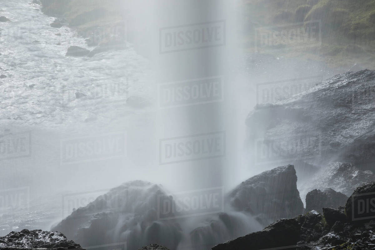 Water breaking on rocks, iceland. Royalty-free stock photo