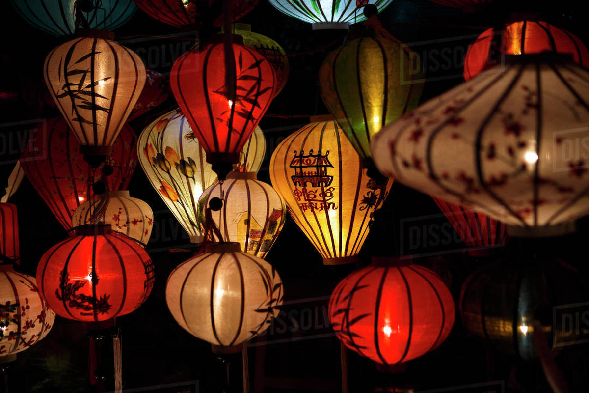 Lanterns at a Market in Historic Hoi An, Vietnam. Royalty-free stock photo