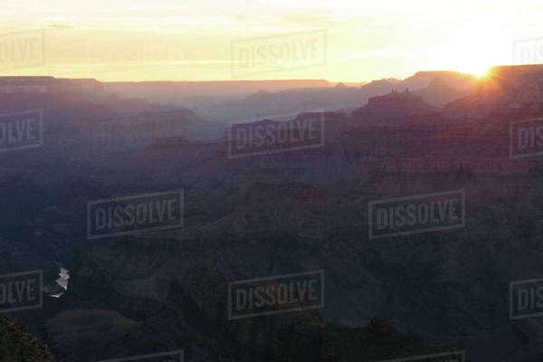 Scenic view of Grand Canyon National Park against sky during sunset Royalty-free stock photo