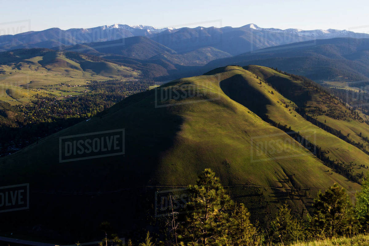 Mount Jumbo and the Rattlesnake Wilderness near Missoula, Montana. Royalty-free stock photo