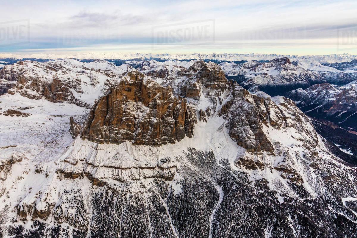 Aerial view of Tofane in winter, Ampezzo Dolomites, Veneto, Italy Royalty-free stock photo