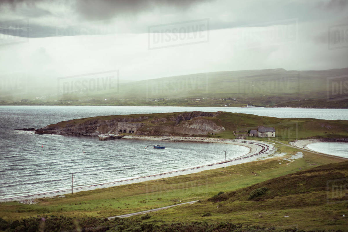 Two bays meet in unique landscape in Scottish highlands Royalty-free stock photo