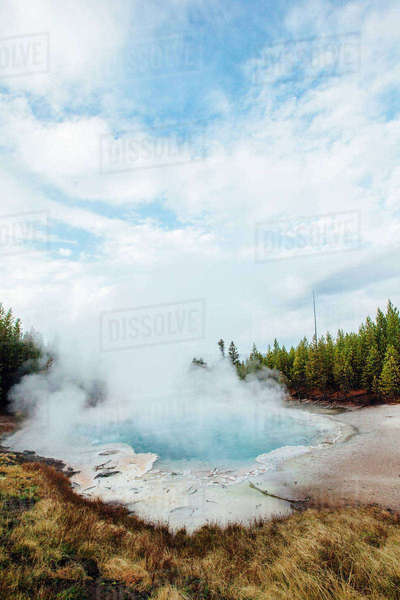Scenic view of hot spring Royalty-free stock photo
