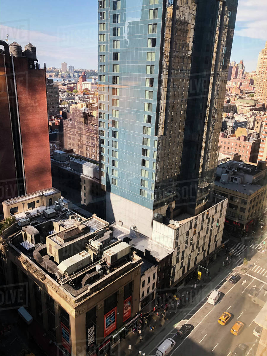 Tall buildings and street in downtown New York City, New York, USA. Royalty-free stock photo