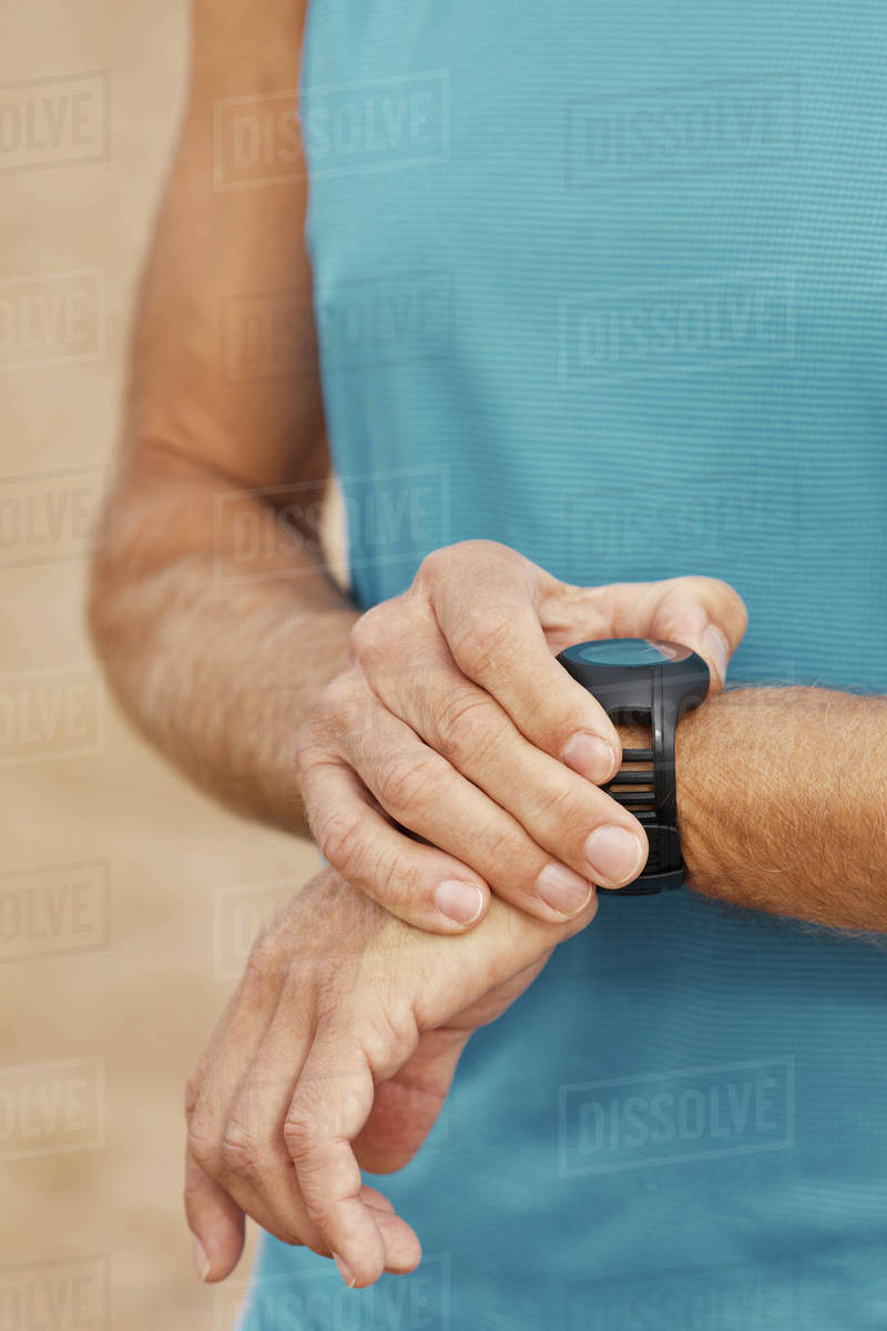 Unrecognizable Man With Fitness Bracelet Royalty-free stock photo