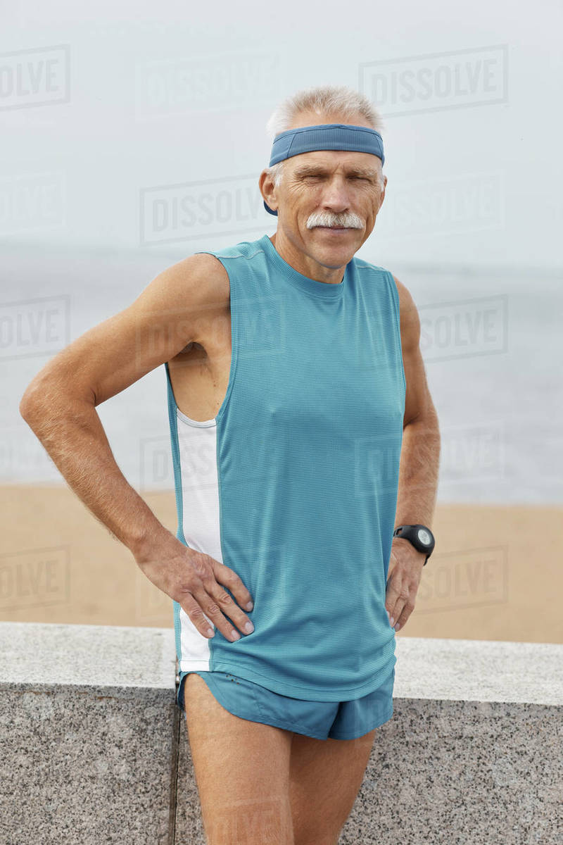Sporty Senior Man With Hands On Hips Royalty-free stock photo