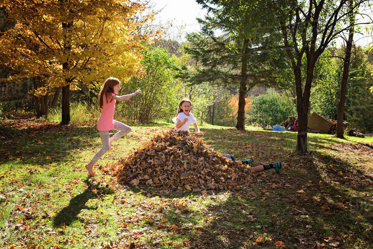 Three Young Friends Playing Outdoors in Fall Leaves Royalty-free stock photo