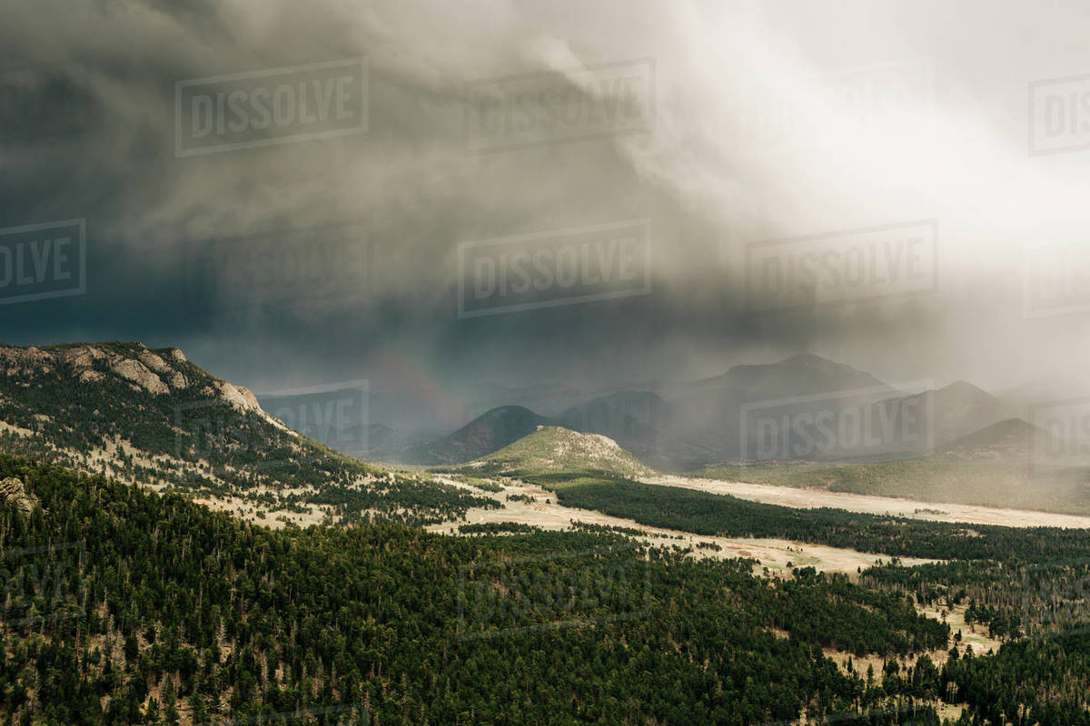 A storm moves over Rocky Mountain National Park, CO. Royalty-free stock photo