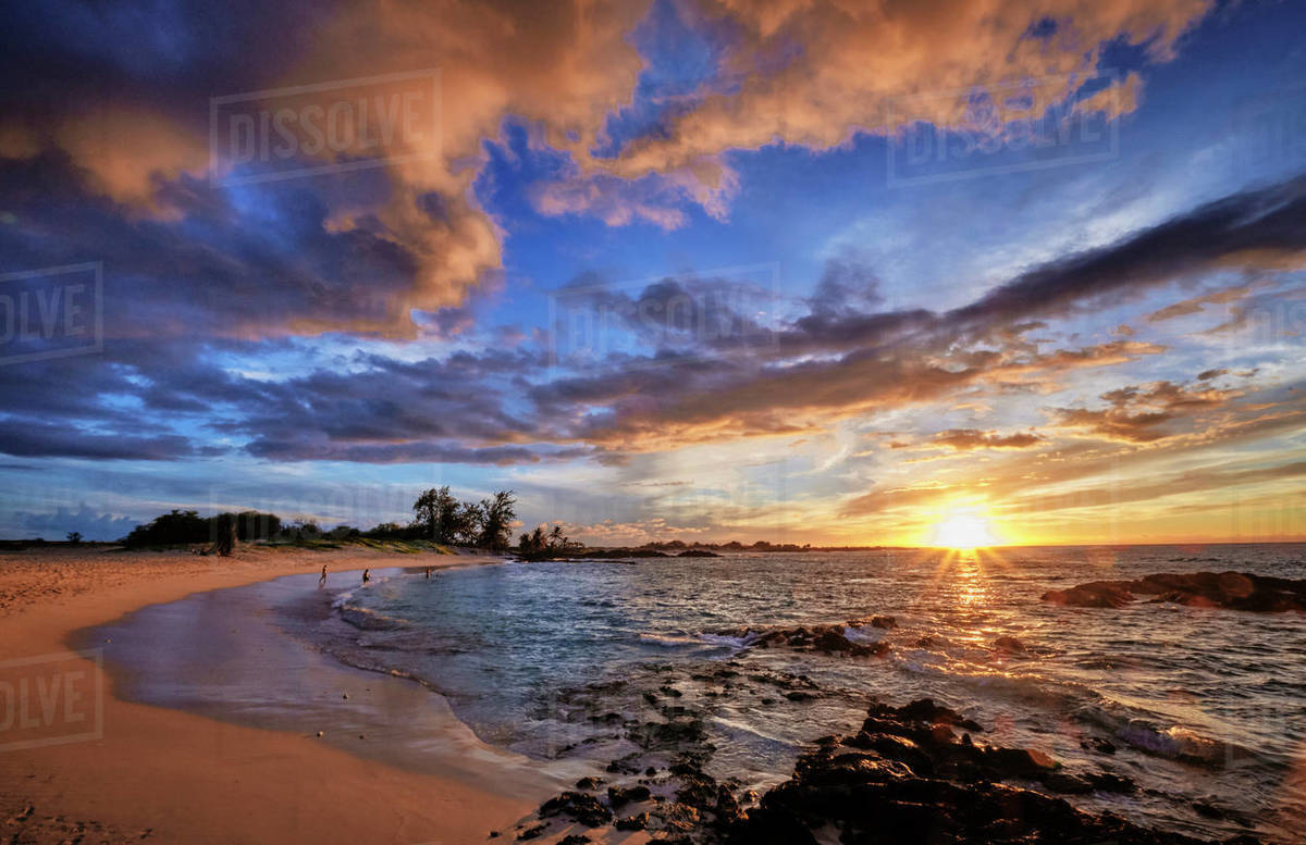 The view just before sunset on Makalawena Beach on the Big Island. Royalty-free stock photo