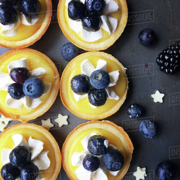 High angle view of tart with berry fruits Royalty-free stock photo