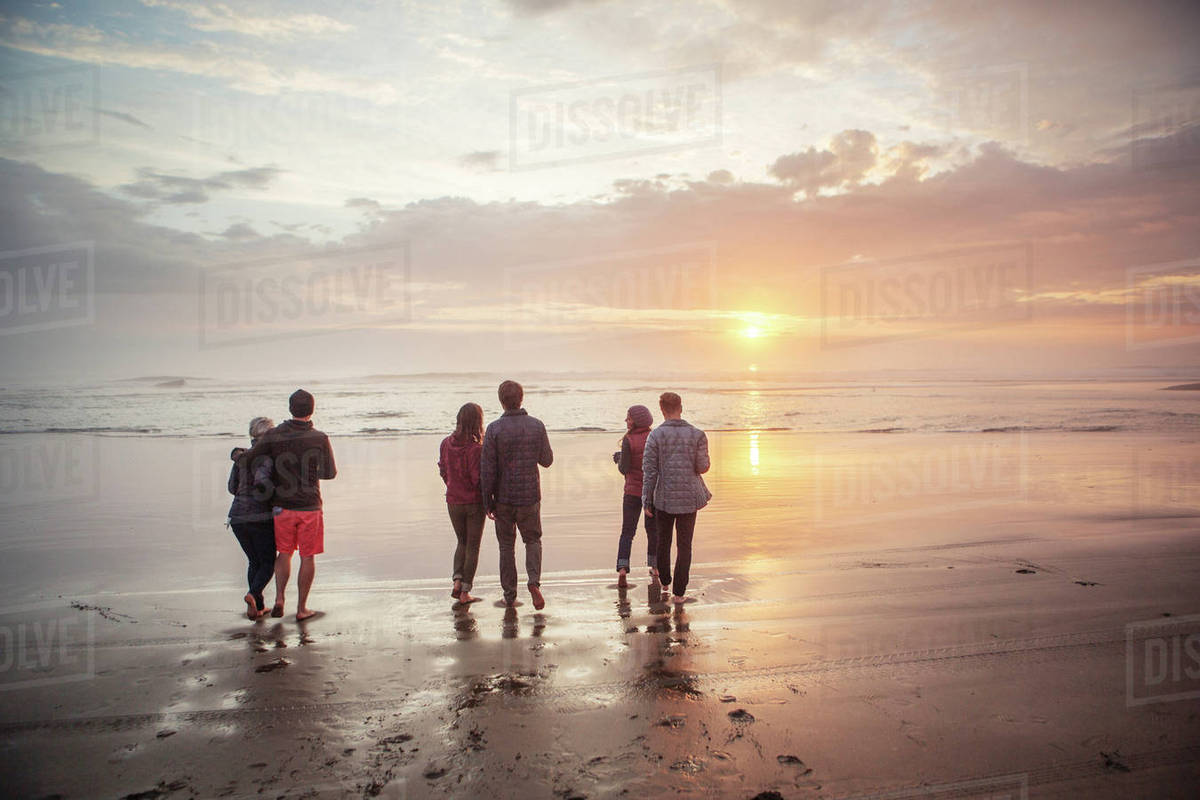 Rear View Of Couples Walking On Shore At Beach During Sunset Stock