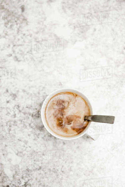 Overhead view of coffee on table Royalty-free stock photo