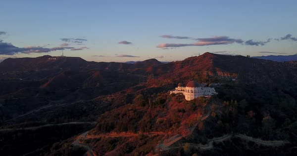 Drone shot of Griffith Observatory in Los Angeles Royalty-free stock video