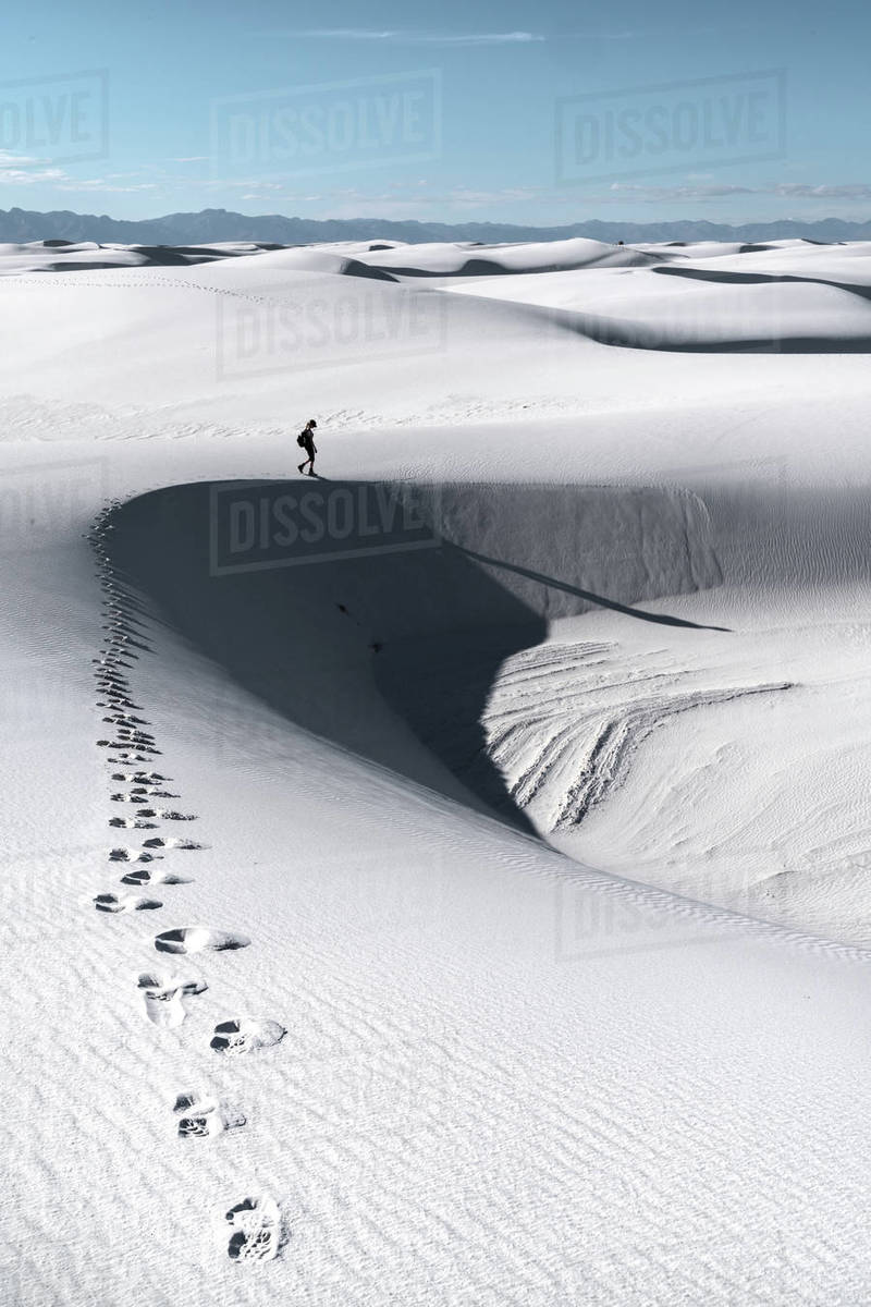 Footprints of a woman on sand dunes, New Mexico, United States of America Royalty-free stock photo